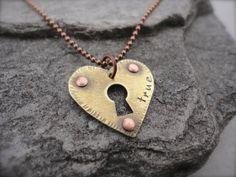 Heart Lock  Mixed Metal Necklace by melaniehazen on Etsy, $49.00