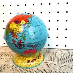 Vintage Metal World Globe Bank #americana #globe #maps #bank #vintageglobebank #vintageglobe #vintagedecor #vintagestyle #retro #etsy
