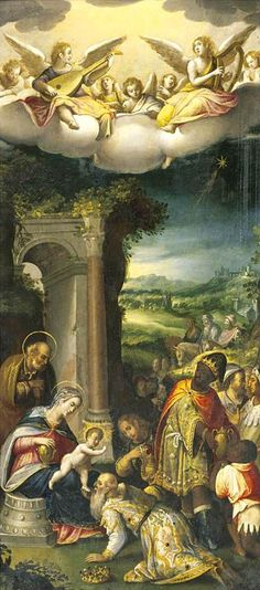Prospero Fontana (1512–1597) Italian painter/Bologna/The Adoration of the Magi oil on copper H: 53 cm (20.9 in). W: 24 cm (9.4 in). Private collection