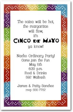 Zigzag Mexican Fiesta Party Invitations, Cinco de Mayo Invitations