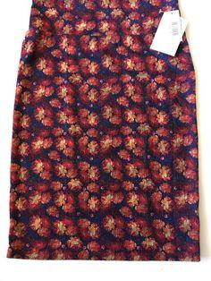 dcb0c4bfc Lularoe Med 10-12 Cassie Skirt Navy With Orange Burgundy Gold Roses Fall  Colors #