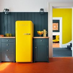 Bright yellow fridge.