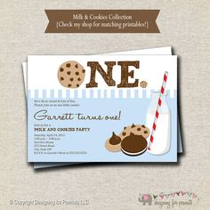 Milk and Cookies Invitation Milk & Cookies by designingforpeanuts