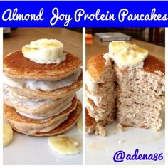 Ripped Recipes - Almond Joy Protein Pancakes - A nutritious way to get your candy bar fix ; The filling is just Greek yogurt mixed with a little Walden Farm Sugar Free Chocolate Syrup and stevia to taste. (recipes with greek yogurt stevia) Banana Protein Pancakes, Protein Bread, Protein Snacks, Whey Protein, Clean Breakfast, Breakfast Cake, Breakfast Ideas, Sugar Free Chocolate Syrup, Vegan Chocolate