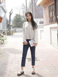 10's trendy style maker 66girls.us! Cropped and Tapered High-Rise Jeans (DGVM) #66girls #kstyle #kfashion #koreanfashion #girlsfashion #teenagegirls #fashionablegirls #dailyoutfit #trendylook #globalshopping