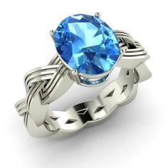 Oval-Cut Blue Topaz  Vintage Ring in 14k White Gold