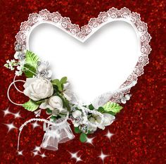 Red and White PNG Frame with Heart and Roses