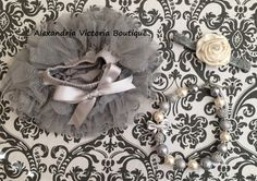 SILVER and CREAM SET baby headband and by AlexandriaVictoria