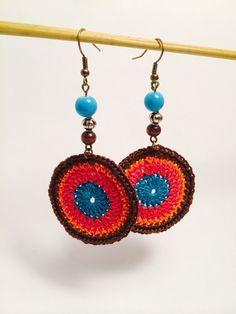 Crochet Earring Hoops Colorful Earrings by TangledKnotCreations,