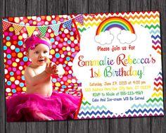 Rainbow Birthday Invitation  Chevron Rainbow by PuggyPrints