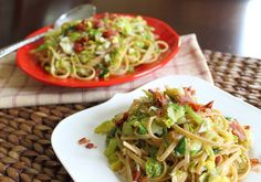 Pasta with Brussels sprouts, bacon, sundried tomatoes-oh yea, and Parmesan cheese and artichokes....yummy