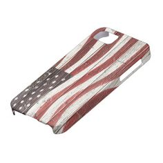 Painted American Flag on Rustic Wood Texture iPhone 5 Cover by #RedWhiteAndBlue1 Shipping to Biloxi, MS #USA #AmericanFlag #iphone5 #casemate  #zazzle  #redwhiteandblue