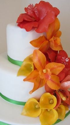 Wedding shower tropical flower cake - Tropical Vacation Contest Ends 3/22/13