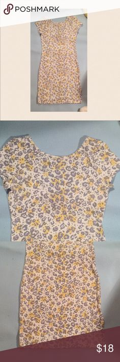 Yellow leopard Print Dress Only worn once  Perfect condition!  Smoke free home!   💕 I consider all reasonable offers! Make a bundle is any amount of items to receive a private offer!   Bundle more to Save More! 💝 Guess Dresses Mini