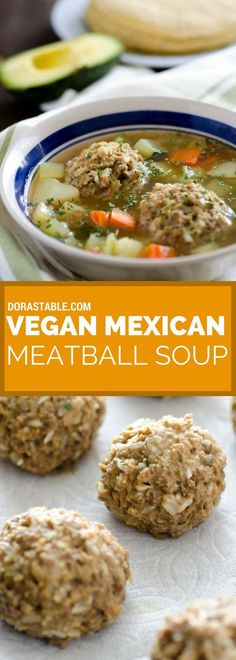 This vegan Mexican meatball soup is a hearty soup filled with carrots, potatoes, celery, and amazingly tender meatballs.: