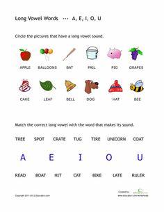 Worksheets: Long Vowel Words