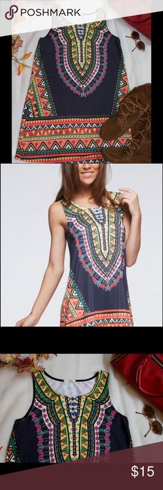 Tribal Print Tank Dress (large) Fun boho style shift dress from 12PM by Mon Ami. 95% polyester/5% spandex. Size large. Only worn a few times, in like-new condition. 12PM Dresses