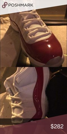 Jordan cherry 11's They're a size 11mens and have never even been tried on. Still in box with stuffing and wrapping. Selling for $225. Price is firm and not willing to go down. Serious offers only. Jordan Shoes Sneakers