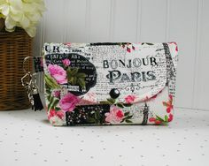 Large Snap Pouch with Clip and Tassel Charm Pouch with Tassel Organizer Pouch... Bonjour Paris by Hot4Handbags
