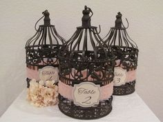 Wedding Birdcage Table Number Centerpieces Set Of 3 / Peach & Lace / Wedding Birdcage Table numbers / Bird Cage Centerpieces on Etsy, $68.00