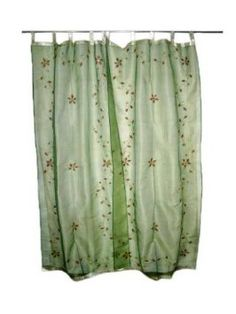 Amazon.com: 2 India Curtains Organza Green Floral Mirror Embroidered  Curtains Sheer: Home