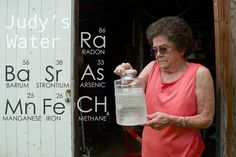 Judy Eckert holding water contaminated with arsenic drawn from her private well. In 2007 Guardian Exploration drilled and fracked a Marcellus well 450ft from her home, which she believes is part of the cause of her contaminated her water supply. In 2010 DEP found a waste pit buried illegally into her season high water table. To learn more about her case you can donate to receive a copy of Triple Divide — a Public Herald documentary on fracking. - courtesy © J.B.Pribanic