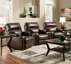 A set of 3 that's perfect for your home theater, family room or man cave. These recliners are extremely plush with thick padding all over, as well as a chaise style footrest that provides complete head to toe support. Available in brown, gray, red and burgundy colors.