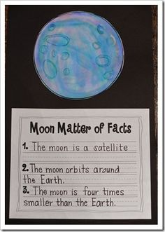 Wednesday - moon facts Love the glue art craters. Great craft to go along with informational writing on the moon. Kindergarten Science, Elementary Science, Science Classroom, Teaching Science, Preschool, Teaching Ideas, Classroom Ideas, Space Classroom, Moon Activities