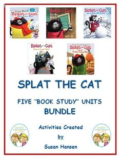This bundle includes five book study units about Splat the Cat.  There are fluency, comprehension, vocabulary, bingo, writing, reading and word search activities in each of the units.  These five units are currently listed individually on TPT.  You can check the descriptions of each unit to see what is contained in each.
