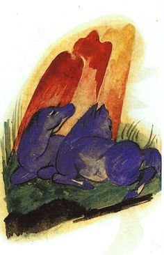 Franz Marc, Two Blue Horses in front of a Red Rock, 1913.