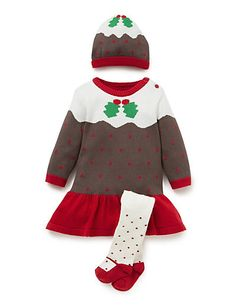 549c863e6 3 Piece Pudding Print Dress, Hat & Tights Outfit Xmas Pudding, Christmas  Pudding