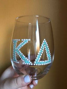 Excited to share this item from my shop: Kappa Delta Hand-Painted Wine Glasses Kappa Delta Canvas, Kappa Delta Crafts, Sorority Crafts, Kappa Delta Sorority, Sorority Canvas, Gamma Phi, Phi Mu, Big Little Basket, Big Little Gifts