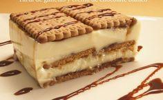 Tarta de galleta y crema de chocolate blanco (Thermomix)