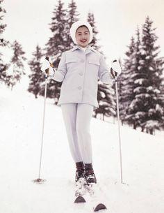 Queen Sirikit of Thailand skiing in Gstaad.