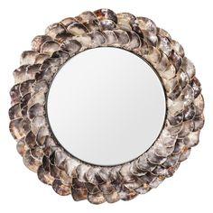 #Espejo #redondo díselo de #conchas. Este gran espejo realizado en #acero y con conchas, puede hacer que quien entre a tu casa se quede impresionado. Las primera impresiones siempre son importantes.