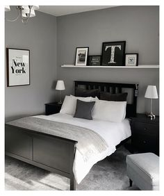 Black And Grey Bedroom, Black Bedroom Decor, Bedroom Setup, Room Design Bedroom, Small Room Bedroom, Room Ideas Bedroom, Home Decor Bedroom, Mens Room Decor, Couple Bedroom