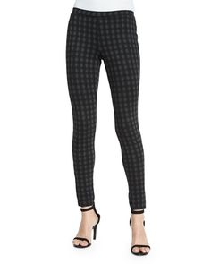 JOIE KEENA CHECK-PRINT PONTE LEGGINGS, CHARCOAL W/CAVIAR. #joie #cloth #