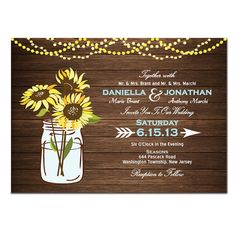 Sunflower Wedding Invitation DIY PRINTABLE Digital File or Print (extra) Wood Wedding Invitation Printable Sunflower Wedding Invite Blue