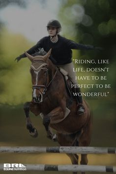 """Riding, like life, doesn't have to be perfect to be wonderful"" motivational horse quote #BRLequine #ridingislife #trailrider #jumper #loveriding"