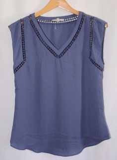 """NEW!! 41Hawthorn for Stitch Fix """"Carla Crochet Detail Blouse"""" Periwinkle #41Hawthorn #Blouse #Career"""