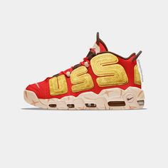 """Nike & Street Fighter 2 collaboration about the character of Zangief. """"USSR"""" letters replace the traditionnal """"AIR"""" on the upper of the Nike Air More Uptempo Nike Street, Nike Air, Street Fighter 2, Collaboration, Costa, Air Jordans, Sneakers Nike, Letters, Character"""