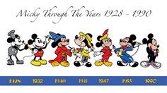 Mickey Through the Years 1928 - 1990 by MorphFXF on DeviantArt Disney Art, Disney Pixar, Walt Disney, Disney Stuff, Mickey Mouse Clipart, Mickey Minnie Mouse, Disney Drawings, Cartoon Drawings, Old Disney Characters
