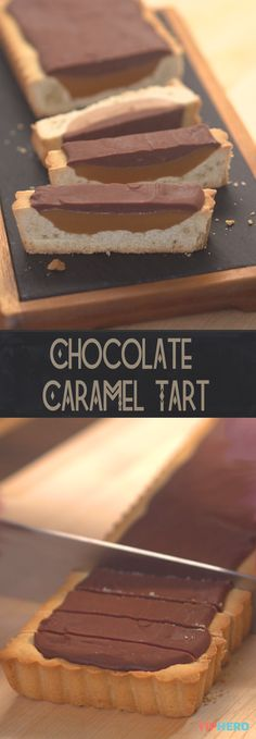 Smitten with this Chocolate Caramel Tart aka the Twix Tart thanks to layers of chocolate, caramel and cookie crunch - yum!! Click for the recipe and how-to video. #desserts #sweettreats #crowdpleasers #yummy