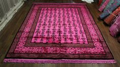 8×10 OVERDYED HOT PINK ART DECO FLORAL WOOL RUG 2772 $9,956 $2,399  - See more at: http://westofhudson.com/product/8x10-overdyed-hot-pink-art-deco-floral-wool-rug-2772