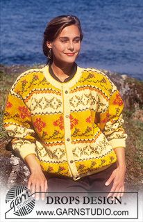 """DROPS jacket with pattern borders in """"Karisma"""". ~ DROPS Design"""
