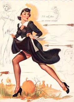 """I'd call this an arrow escape!"" ~ Vintage Freeman Elliott Pilgrim pin-up. Thanksgiving Pictures, Vintage Thanksgiving, Happy Thanksgiving, Thanksgiving Blessings, Thanksgiving Stuffing, Vintage Holiday, Pin Up Vintage, Vintage Paper, Retro Vintage"