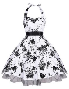 Là Vestmon Damen Neckholder Vintage Retro Partykleider Rockabilly Kleid  Cocktailkleid  Amazon.de  Bekleidung 0868c3a912
