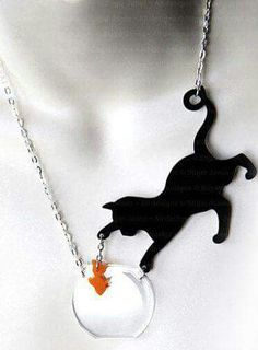Cat Necklace - Cat & fish - Catchin' Fish by Sugar Jones. https://www.etsy.com/listing/124491352/cat-necklace-cat-fish-catchin-fish-by?ref=market