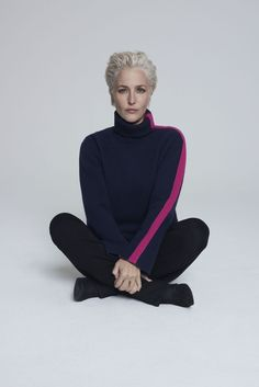Italian Cashmere Blend Roll Neck Jumper in Midnight with Pink stripe, from The Gillian Anderson Collection at Winser London, Luxury British Fashion Brand British Clothing Brands, Winser London, Roll Neck Jumpers, Gillian Anderson, Swing Coats, Fashion Line, Fashion Brand, Casual Winter Outfits, Winter Sweaters