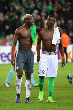 Brothers Paul Pogba of Man Utd and Florentin Pogba of St Etienne after the Europa League match between AS Saint Etienne and Manchester United at...